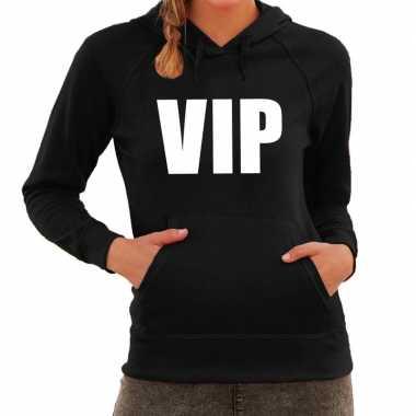 Hooded sweater zwart met vip bedrukking voor dames prijs