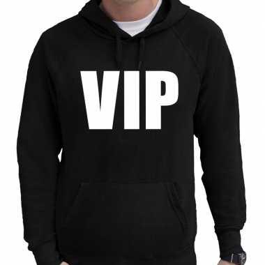 Hooded sweater zwart met vip bedrukking voor heren prijs