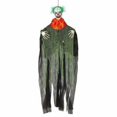 Horror clown halloween hangdecoratie figuur met licht en geluid 180 c