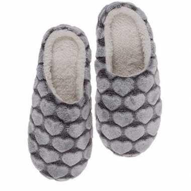 Huis instappers schoenen hartjes donkergrijs voor dames maat 36/37 pr