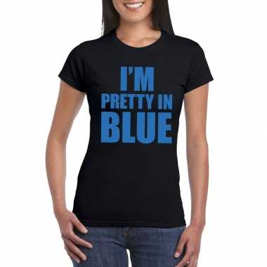 I am pretty in blue fun t-shirt voor dames zwart prijs