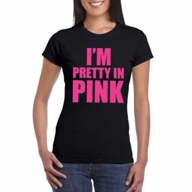 I am pretty in pink fun t-shirt voor dames zwart prijs