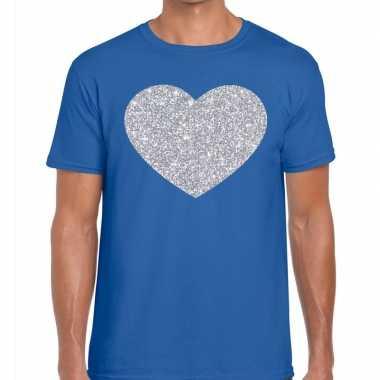 I love fun t-shirt blauw met zilveren bedrukking voor heren prijs
