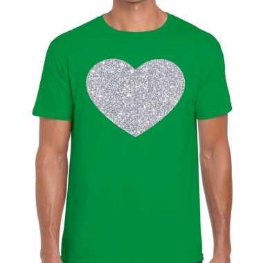 I love fun t-shirt groen met zilveren bedrukking voor heren prijs