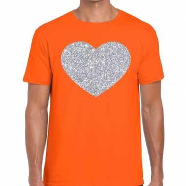 I love fun t-shirt oranje met zilveren bedrukking voor heren prijs