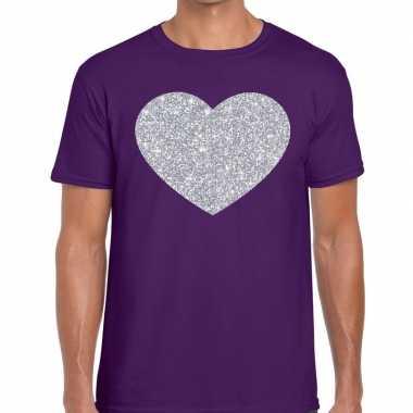 I love fun t-shirt paars met zilveren bedrukking voor heren prijs