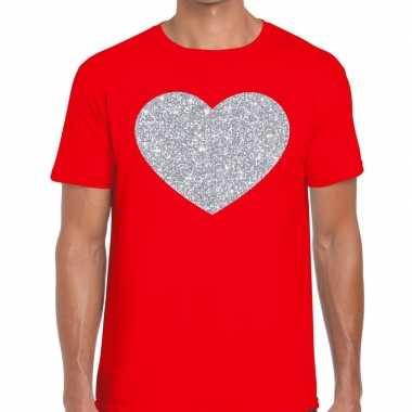 I love fun t-shirt rood met zilveren bedrukking voor heren prijs