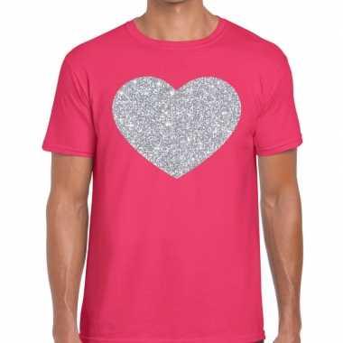 I love fun t-shirt roze met zilveren bedrukking voor heren prijs