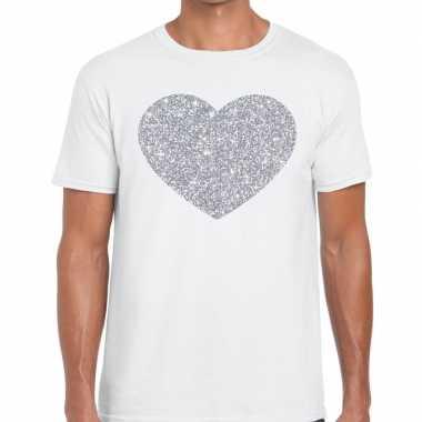 I love fun t-shirt wit met zilveren bedrukking voor heren prijs