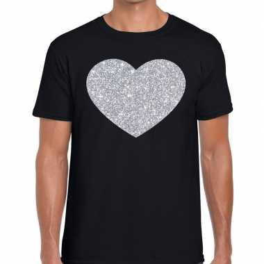 I love fun t-shirt zwart met zilveren bedrukking voor heren prijs