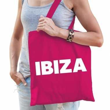 Ibiza schoudertas roze katoen prijs
