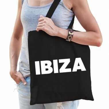 Ibiza schoudertas zwart katoen prijs