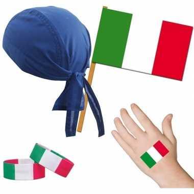 Italiaanse fan/supporter verkleed set voor volwassenen prijs