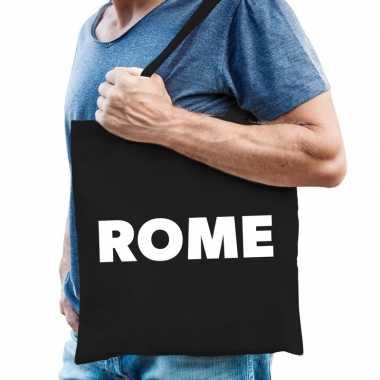 Italie schoudertas zwart katoen met rome bedrukking prijs