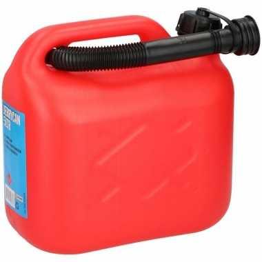 Jerrycan 5 liter met schenktuit rood voor benzine / diesel prijs