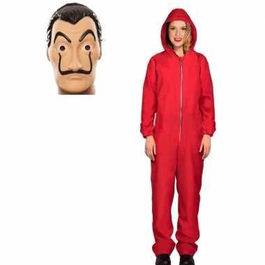 Jumpsuit rood met masker la casa de papel voor dames m prijs