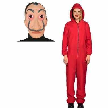 Jumpsuit rood voor dames maat m met masker salvador sali prijs