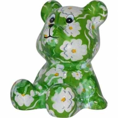 Kado spaarpot beer groen met witte bloemen print 16 cm prijs