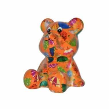 Kado spaarpot beer oranje met paraplus print 16 cm prijs