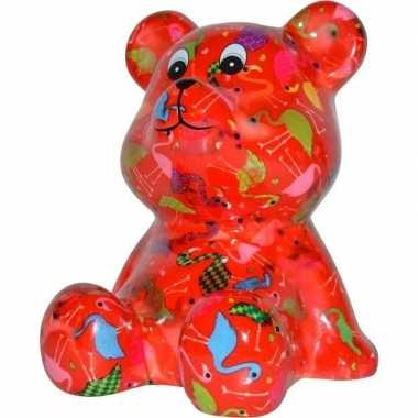Kado spaarpot beer rood met flamingo print16 cm prijs