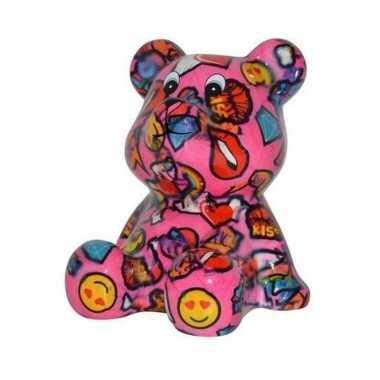 Kado spaarpot beer roze met lippen en smileys 16 cm prijs