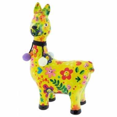 Kado spaarpot lama/alpaca geel met gekleurde bloemen print 23 cm prij