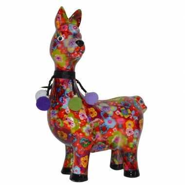 Kado spaarpot lama/alpaca met gekleurde bloemen print 23 cm prijs