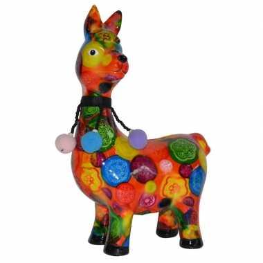 Kado spaarpot lama/alpaca oranje met print 23 cm prijs