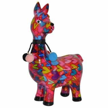 Kado spaarpot lama/alpaca roze met hartjes print 23 cm prijs