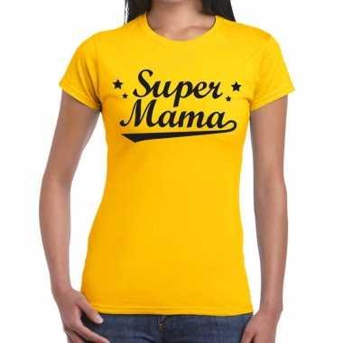 Kadoshirt super mama geel voor dames prijs
