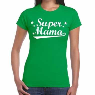 Kadoshirt super mama groen voor dames prijs