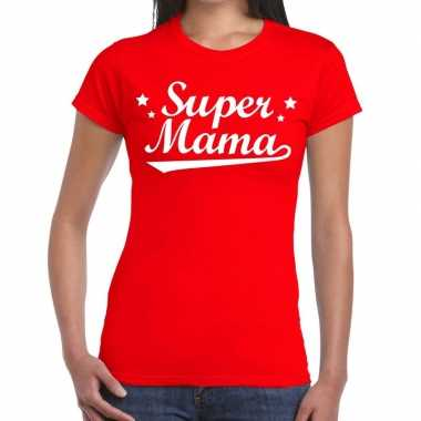 Kadoshirt super mama rood voor dames prijs