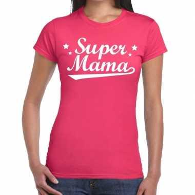 Kadoshirt super mama roze voor dames prijs