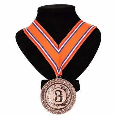 Kampioensmedaille nr. 3 oranje/rood/wit/blauw prijs