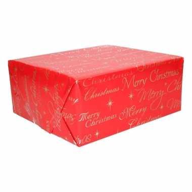 Kerst cadeaupapier rood met merry christmas prijs