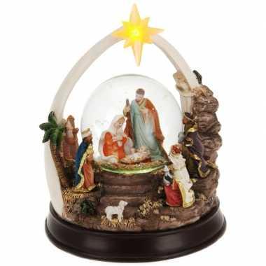 Kerst decoratie glitterbol/sneeuwbol 23 cm type 2 met verlichting pri