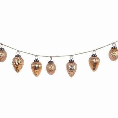 Kerst hangdecoratie brass gouden eikel kerstballetjes slinger 120 cm