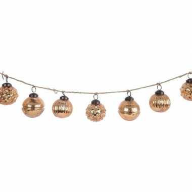 Kerst hangdecoratie brass gouden kerstballetjes slinger 120 cm prijs