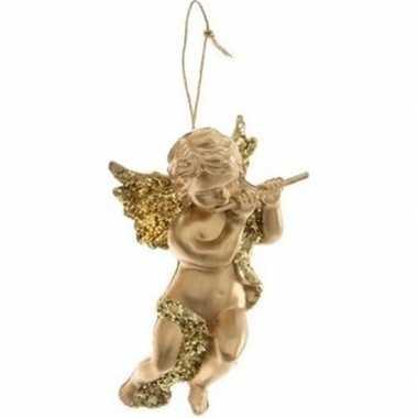 Kerst hangdecoratie gouden engeltje met dwarsfluit muziekinstrument 1