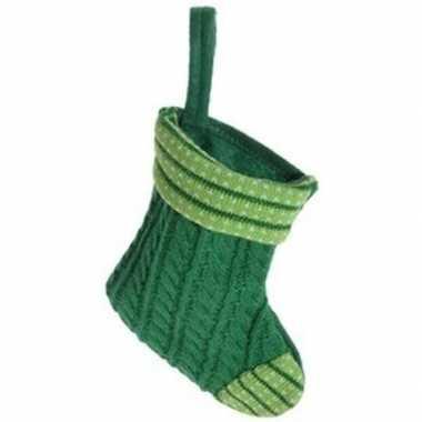 Kerst hangdecoratie groen gebreid honden/katten kerstsokje 21 cm prij