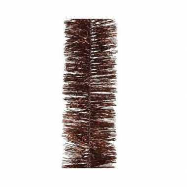 Kerst lametta guirlande mahonie bruin 7 x 270 cm kerstboom versiering