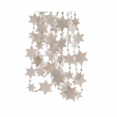 Kerst sterren kralen guirlande winter wit 270 cm kerstboom versiering