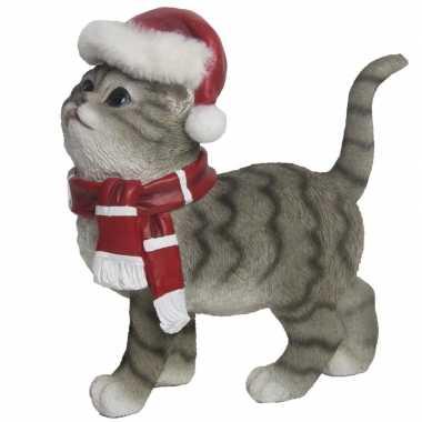 Kerstdecoratie grijze poes met kerstmuts en sjaal prijs