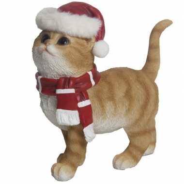 Kerstdecoratie rode poes met kerstmuts en sjaal prijs