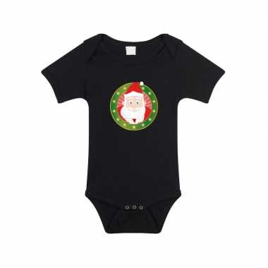 Kerstkleding baby rompertje met kerstman zwart jongens en meisjes pri