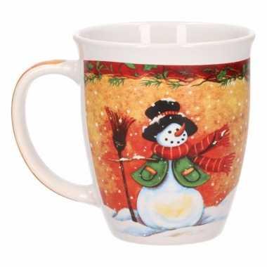 Kerstmokken met sneeuwpop 11 cm prijs