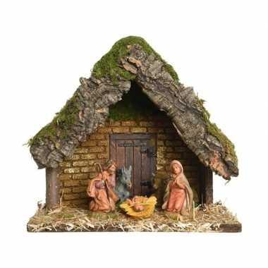 Kerststal met 5 kerstbeeldjes 23 cm prijs