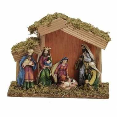 Kerststal met 6 figuren 15x20 cm prijs