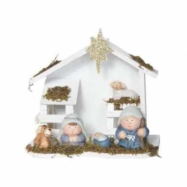 Kerststal van hout 20 x 18 cm prijs