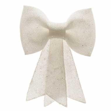 Kerstversiering hangende strik wit 12 x 14 cm prijs